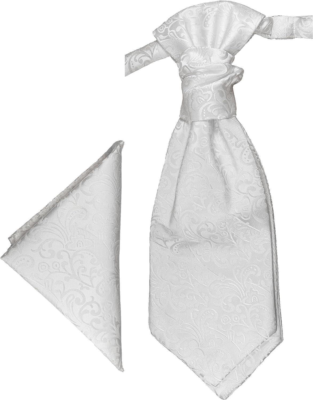 Paul Malone Plastron + pañuelo blanco barroco: Amazon.es: Ropa y ...