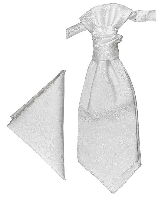 8049b662c9c3 Paul Malone Cravattone Plastron Cravatta Sposo da Cerimonia + Fazzoletto  bianco  Amazon.it  Abbigliamento