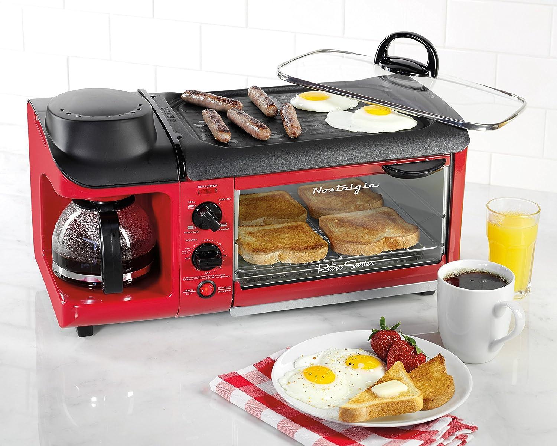 Small Red Kitchen Appliances Amazoncom Nostalgia Bset300retrored Retro Series 3 In 1 Family