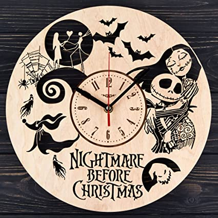 7artsstudio nightmare before christmas wooden wall clock decorative wall clock made from eco wood with - When Was The Nightmare Before Christmas Made