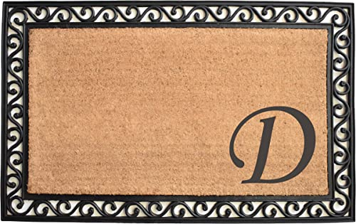 Home More 104023048 Versailles Monogram Doormat 30 x 48 , Natural Black Letter D