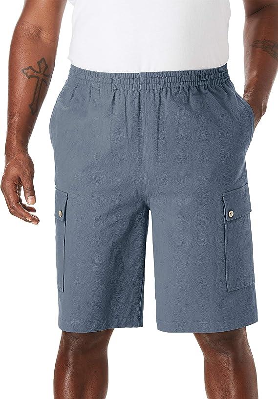 Navy Big 5XL KingSize KS Island Mens Big /& Tall Full Elastic Waist Gauze Cargo Shorts