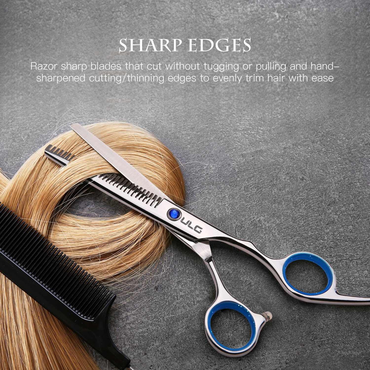 Hair Cutting Scissors Thinning Teeth Shears Set ULG Professional Barber Hairdressing Texturizing Salon Razor Edge Scissor Japanese Stainless Steel 6.5 inch by ULG (Image #5)