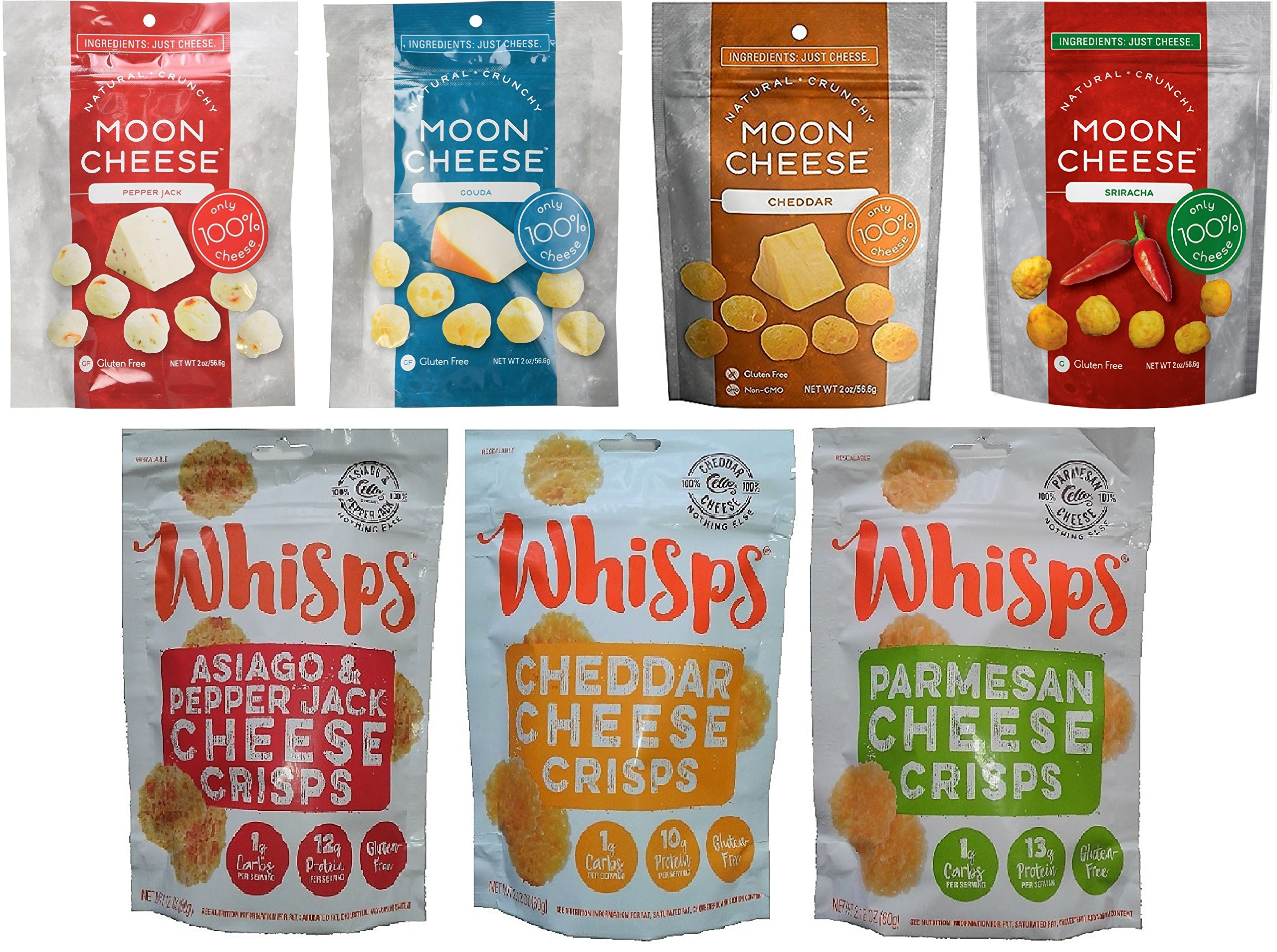 Moon Cheese (2 oz) and Cello Whisps (2.12 oz) 7 Pack Crunchy Assortment including Monterey Jack Sriracha by Moon Cheese