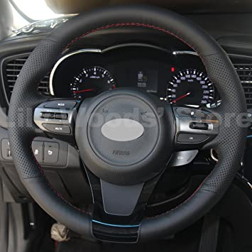 Hand Sewing Black Genuine Leather Steering Wheel Cover for 2014 2015 Kia Optima LX / 2014