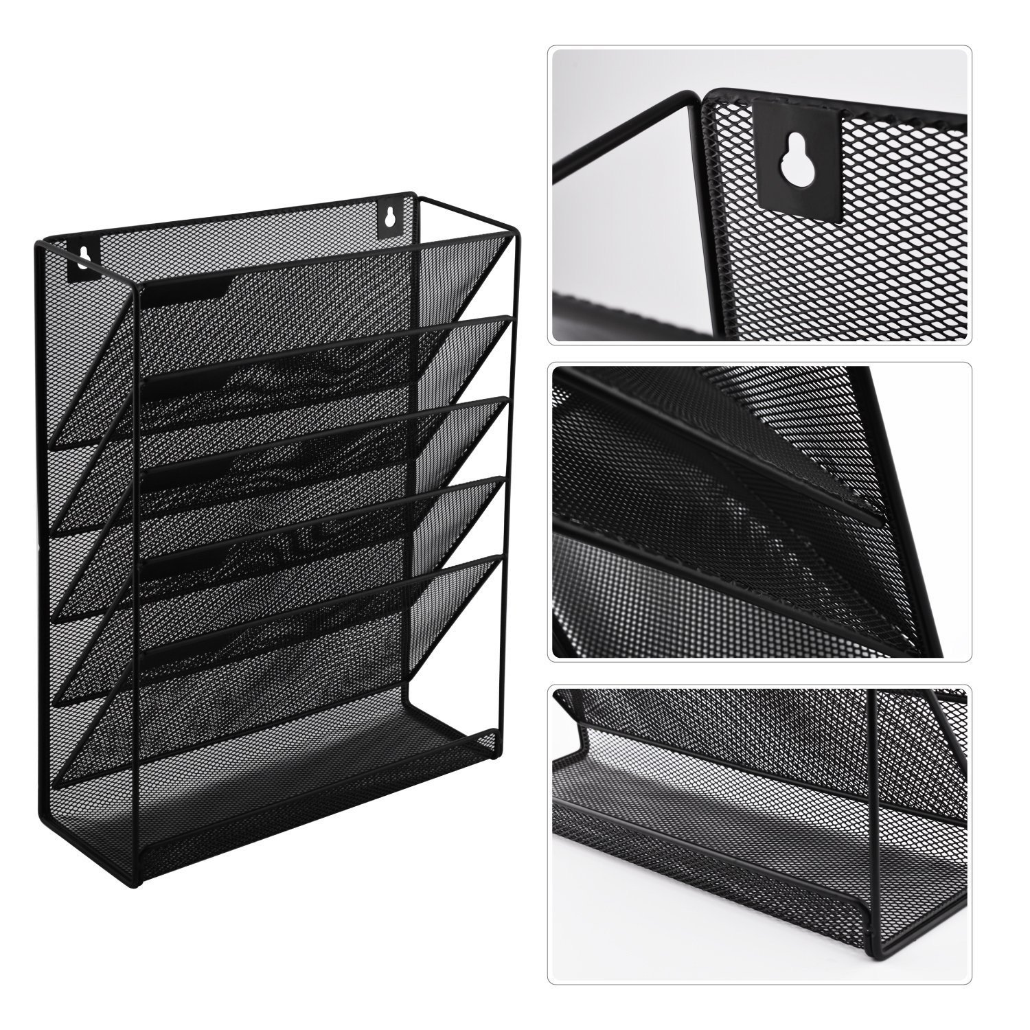 Wall Hanging File Holder Organizer for Office Home, 5-Tier Black Metal- Yuugen Products by Yuugen Products (Image #3)
