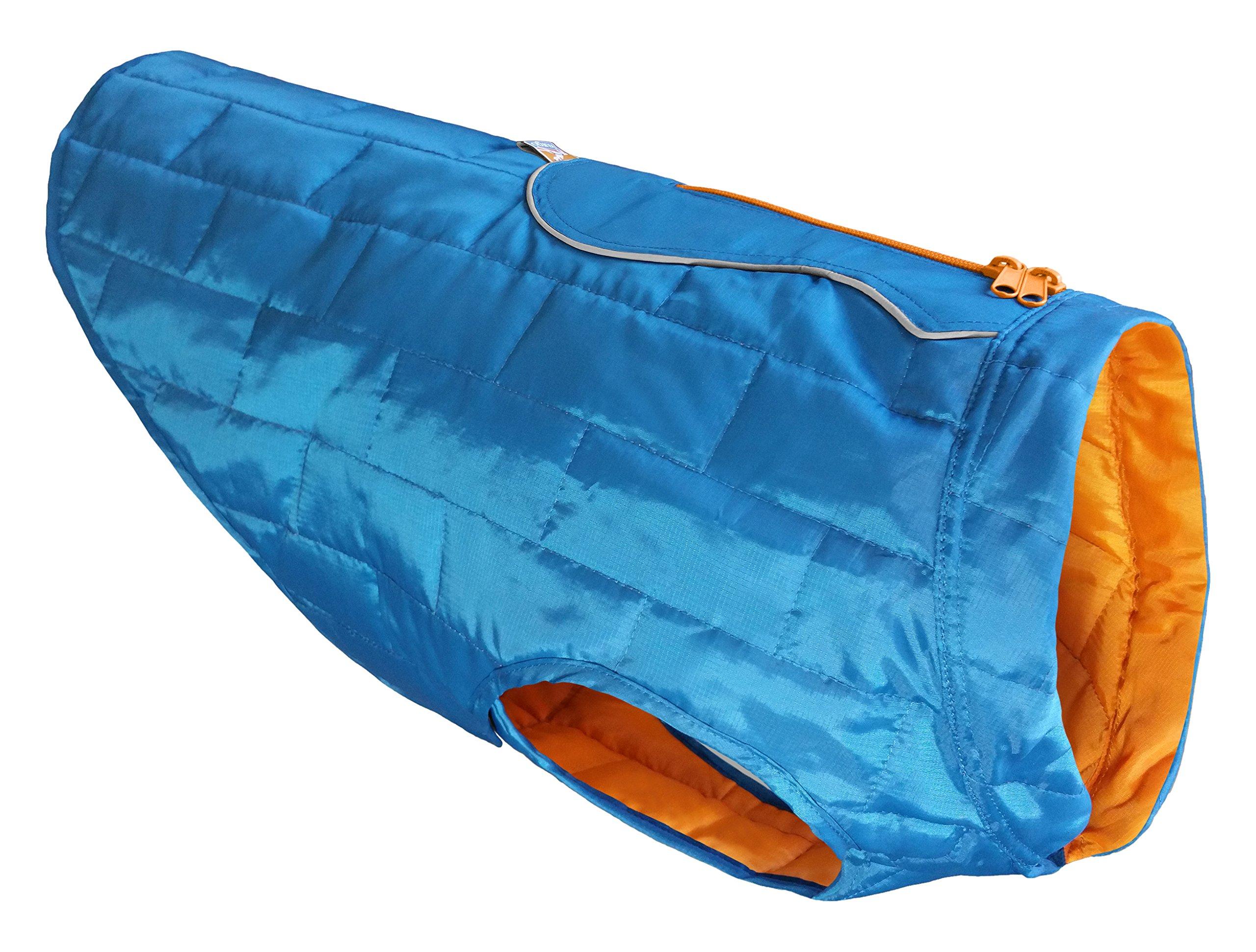 Kurgo Loft Jacket, Reversible Dog Coat, for Cold Weather, Water-resistant Dog Jacket with Reflective Trim, Blue/Orange, Medium by Kurgo