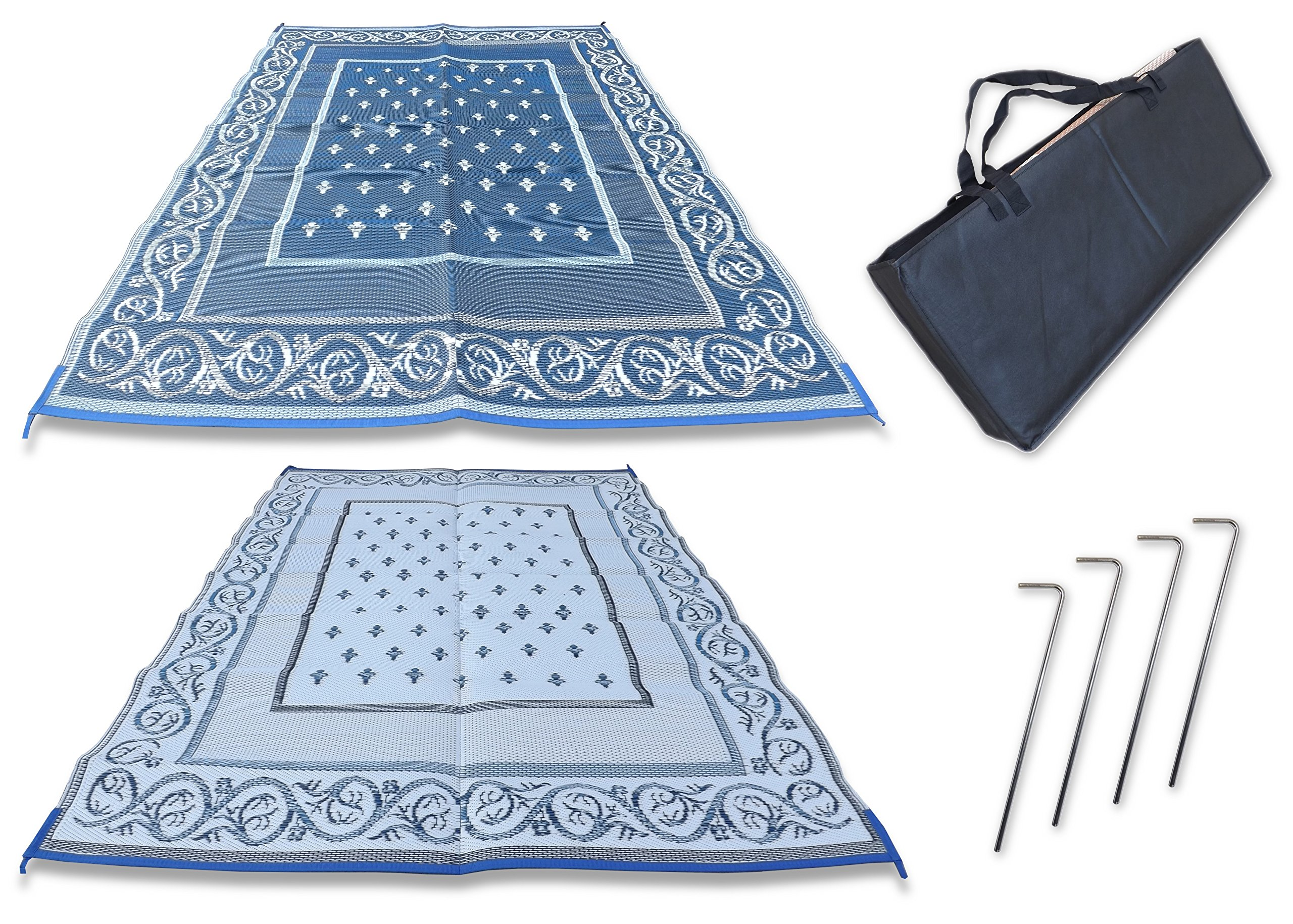 Redwood Mats Patio Mat 9' X 12' Blue Rv Mat Reversible Outdoor Rug Camping Indoor (With Ground Stakes & Carry Bag)