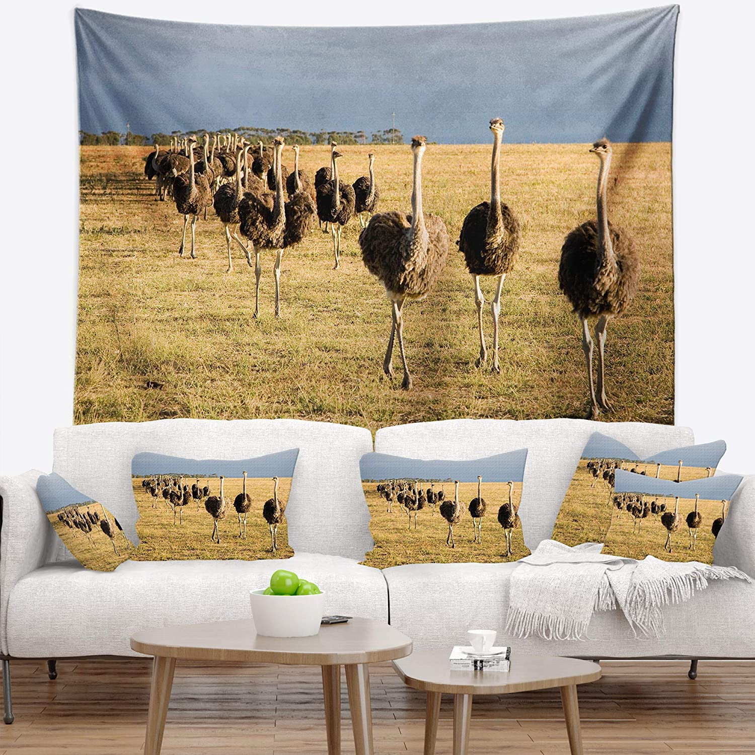 Designart ' Ostriches Walking in South Africa' African Tapestry Blanket Décor Wall Art for Home and Office Large: 60