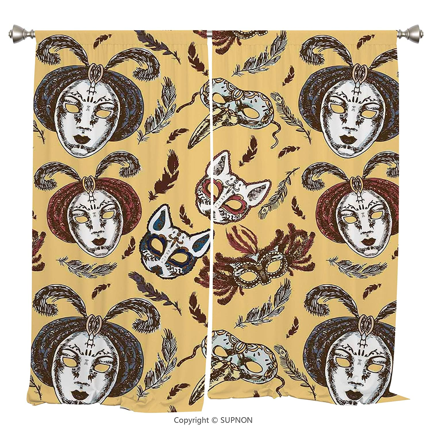 Rod Pocket Curtain Panel Thermal Insulated Blackout Curtains for Bedroom Living Room Dorm Kitchen Cafe/2 Curtain Panels/108 x 72 Inch/Masquerade,Venetian Style Paper Mache Face Mask With Feathers Danc