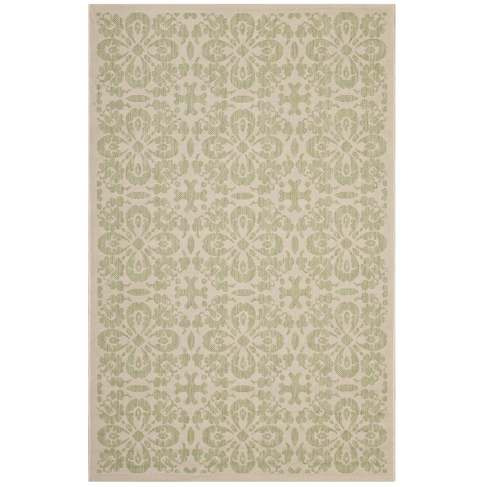 Modway R-1142B-810 Ariana Vintage Floral Trellis 8' x 10' Indoor and Outdoor, 8x10, Light Green and Beige by Modway