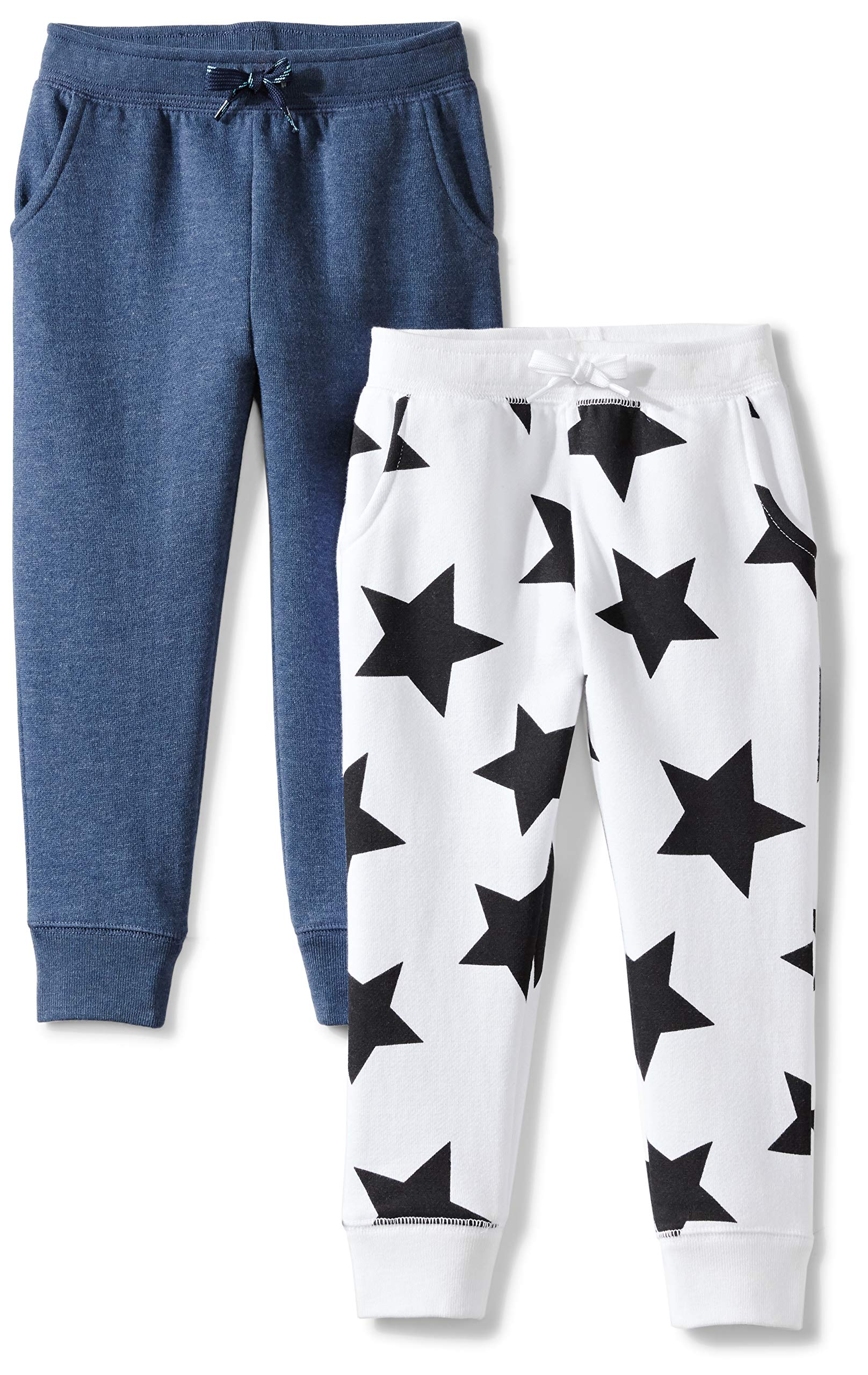 Amazon Brand - Spotted Zebra Girls' Little Kid 2-Pack Fleece Jogger Pants, Star/Blue, Small (6-7)