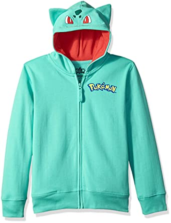 Pokemon Little Boys Bulbasaur Costume Hoodie, Teal, S-4