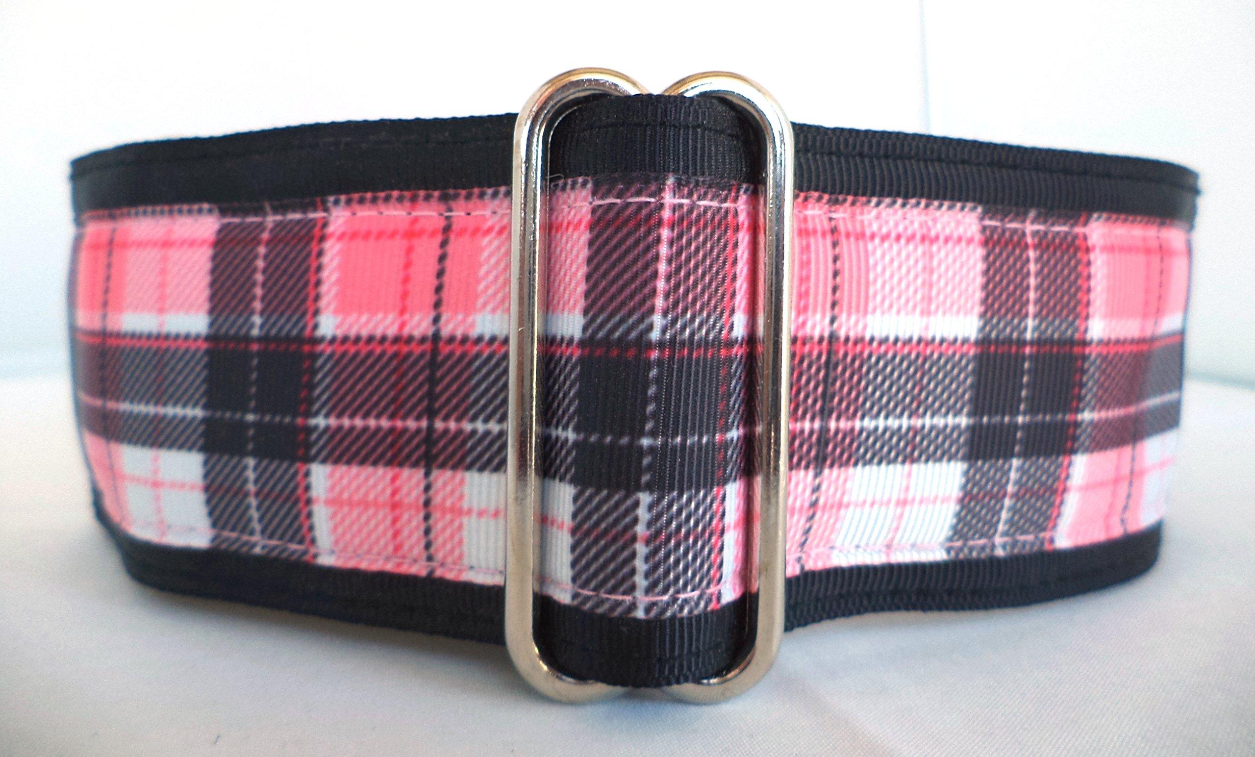 Regal Hound Designs 2'' Wide Martingale Dog Collar, Lined, 2 Sizes: Medium, Large/XL, Pink and Black Plaid Design (Medium 13-18'')