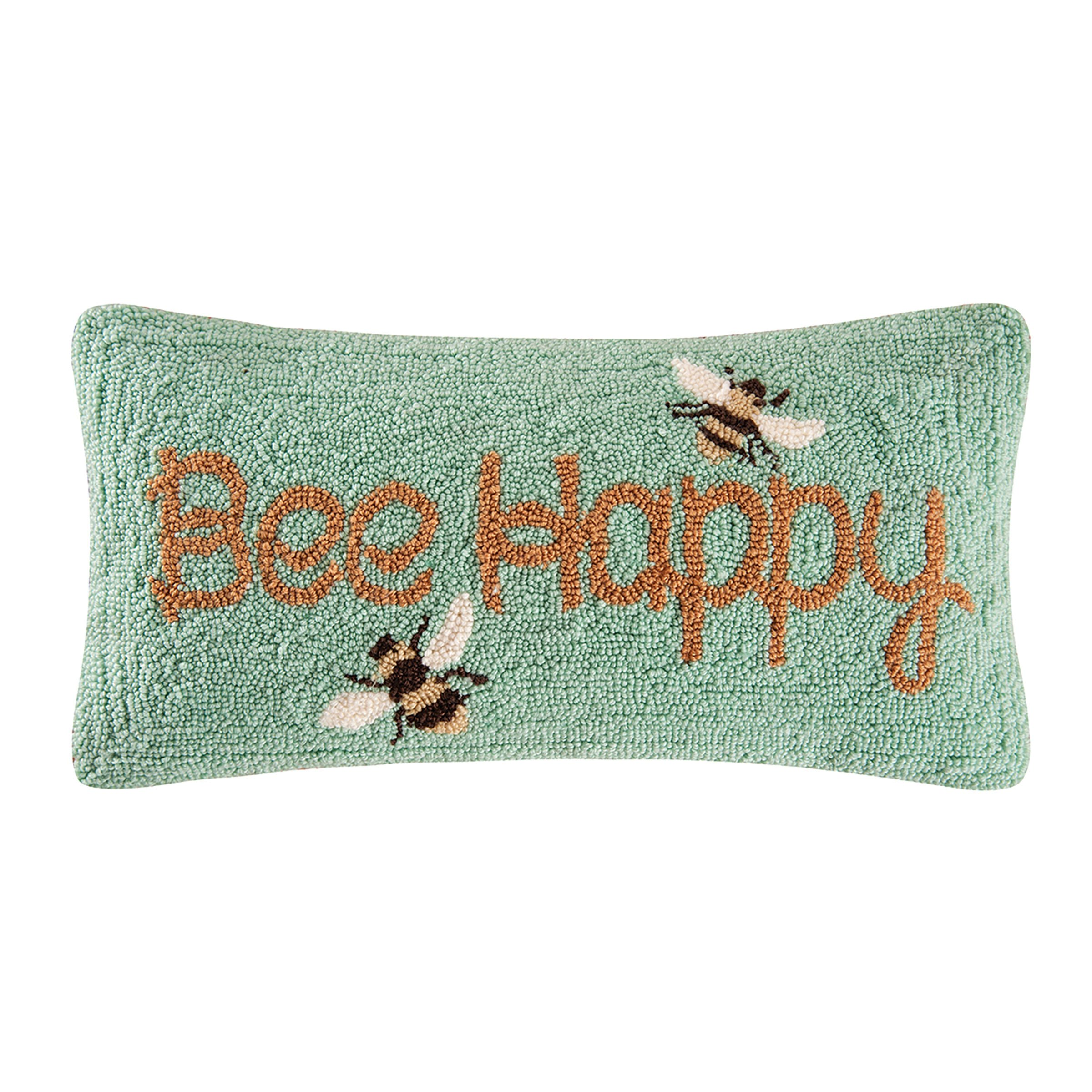 C&F Home Bee Happy Hooked Pillow, Yellow