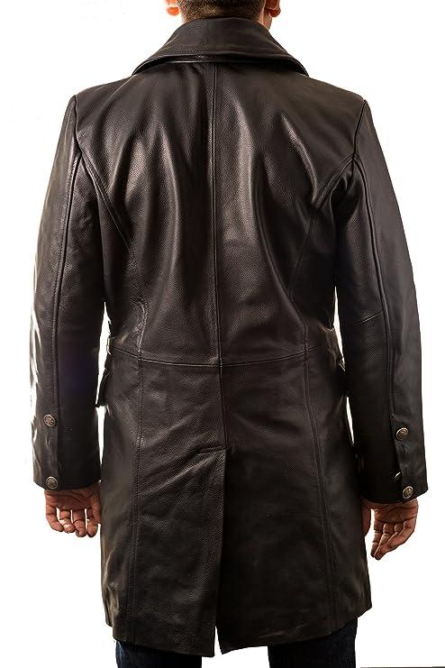 A to Z Leather Cappotto di Cuoio Nero del Mens Pelle Bovina in Stile  Militare  Tedesco Major . Questo Cappotto Lungo e Doppio Petto.  Amazon.it   ... dd4d88fcbb5