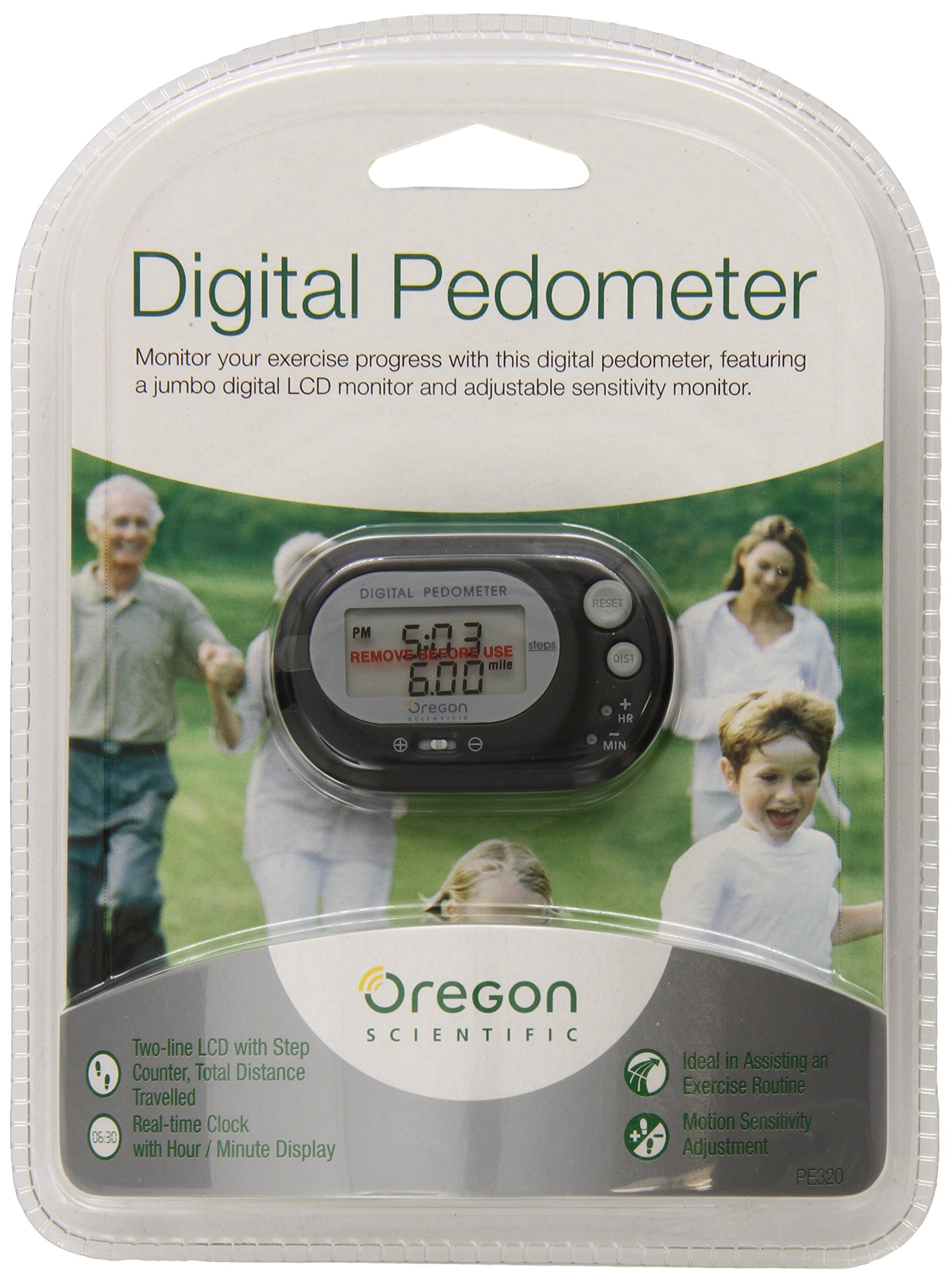 Oregon Scientific PE320 Digital Pedometer with Distance Calculator, Black