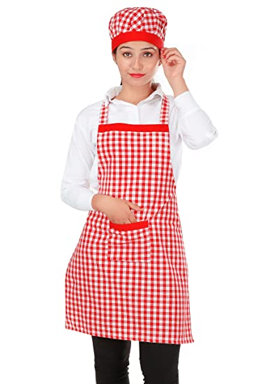 Switchon Cotton Kitchen Apron with Cap (Red and White, Free Size)
