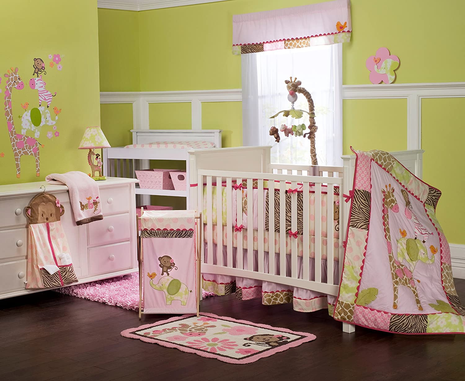 Carter/'s Jungle Collection Secure Me Crib Liner Pink Bumper Pad