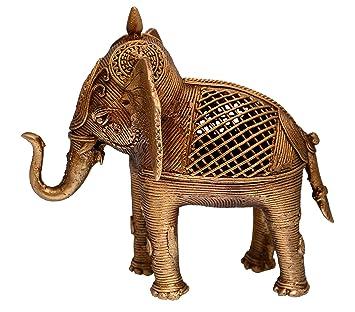 Amazon De Purpledip Dhokra Kunst Elefant Metall Statue Mit