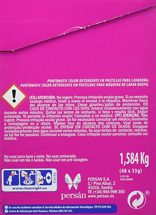 Puntomatic Detergente en Pastilla Ropa Color, 24 Lavados - 1584 gr ...