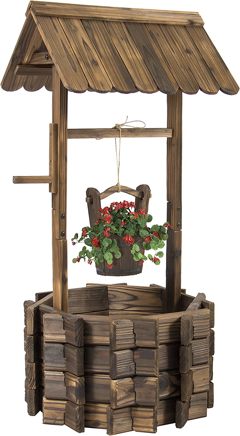 Best Choice Products Wooden Wishing Well Bucket Flower Planter Patio Garden Outdoor Home D cor