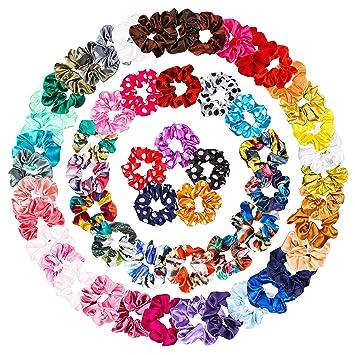 Scrunchies Set Haarbänder 60 Stück Haargummis Elastisch Starker Halt Einfarbig
