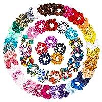 WATINC 60Pcs Silk Satin Hair Scrunchies Set Floral Dots Strong Elastic Hair Bobbles...
