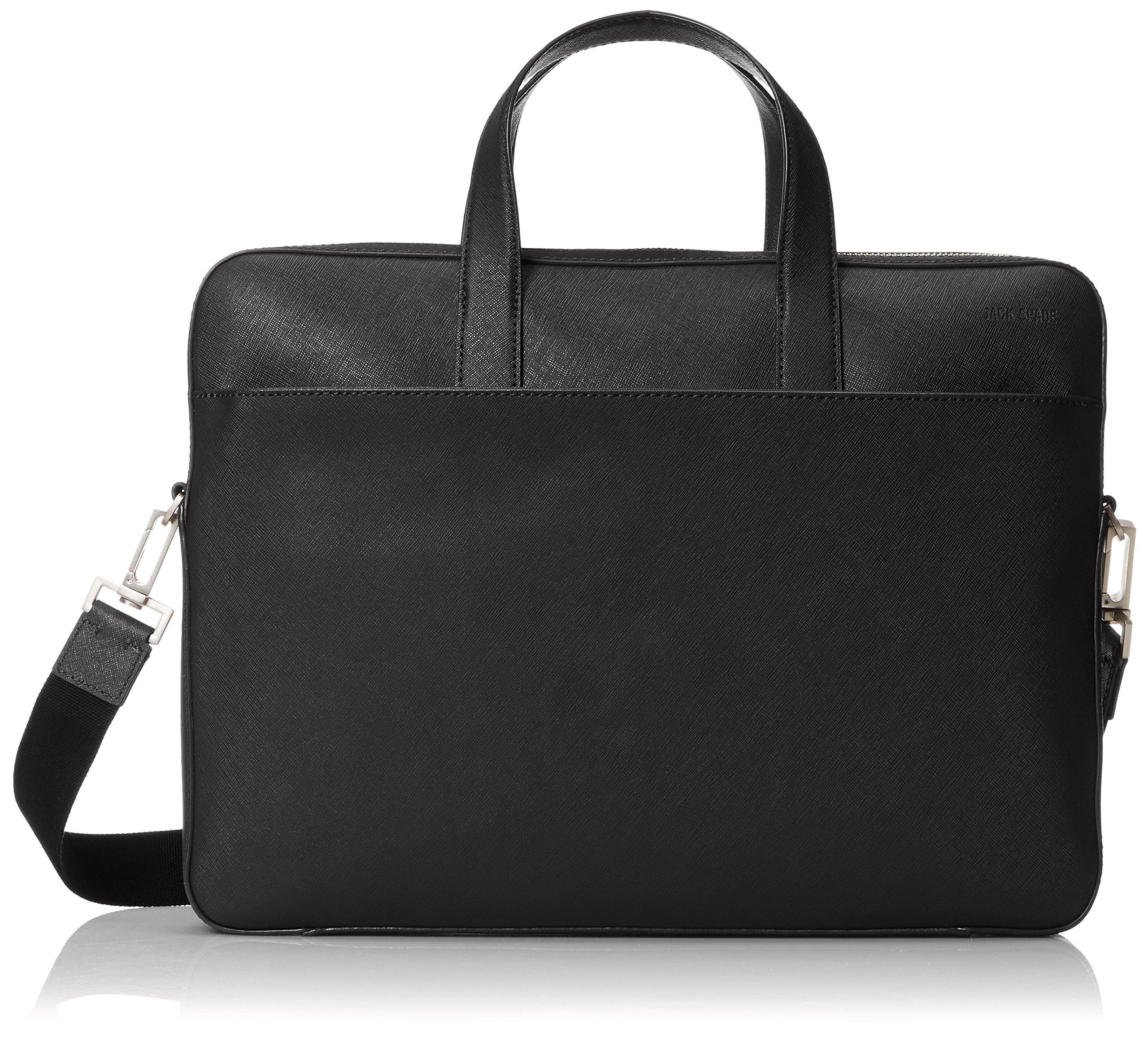 Jack Spade Men's Barrow Leather Slim Brief, Black, One Size