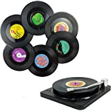 MECOWON Music Coasters with Vinyl Record Player Holder, Set of 6 Drink Coasters for Music Lovers