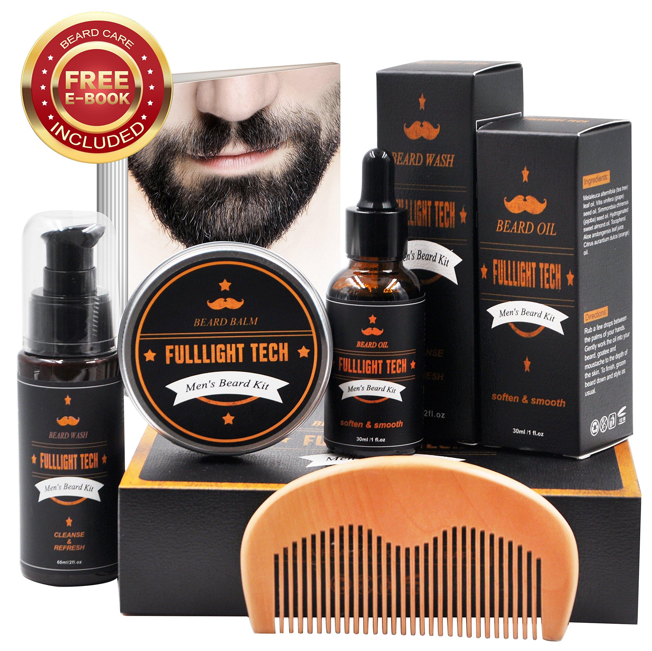 Beard Grooming Kit for Men/Dad/Husband Beard Growth Gift Sets with Unscented Beard Softening Oil Conditioner+Mustache Balm+Beard Shampoo/Wash+Beard Comb 100% Natural for Moisturizing (Beard Kit)