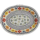 "Gibson Elite 98760.01R Luxembourg Handpainted 14"" Serving Platter, Blue and Cream w/Floral Designs"