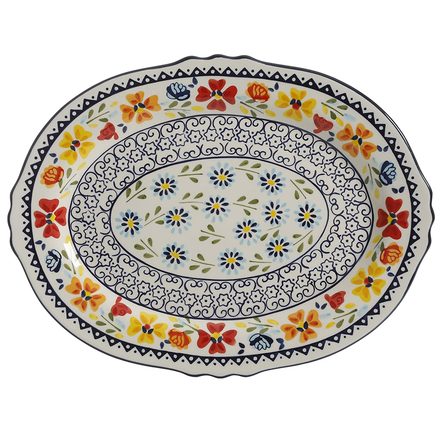 """Gibson Elite 98760.01R Luxembourg Handpainted 14"""" Serving Platter, Blue and Cream w/Floral Designs"""