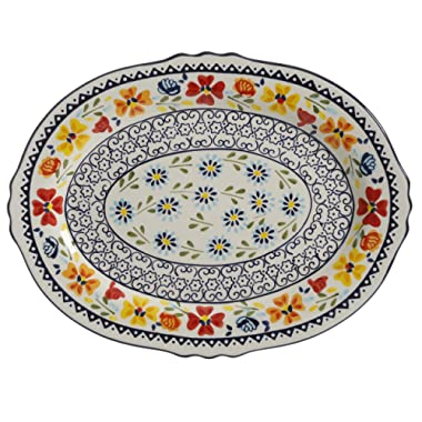 Gibson Elite 98760.01R Luxembourg Handpainted 14  Serving Platter, Blue and Cream w/Floral Designs