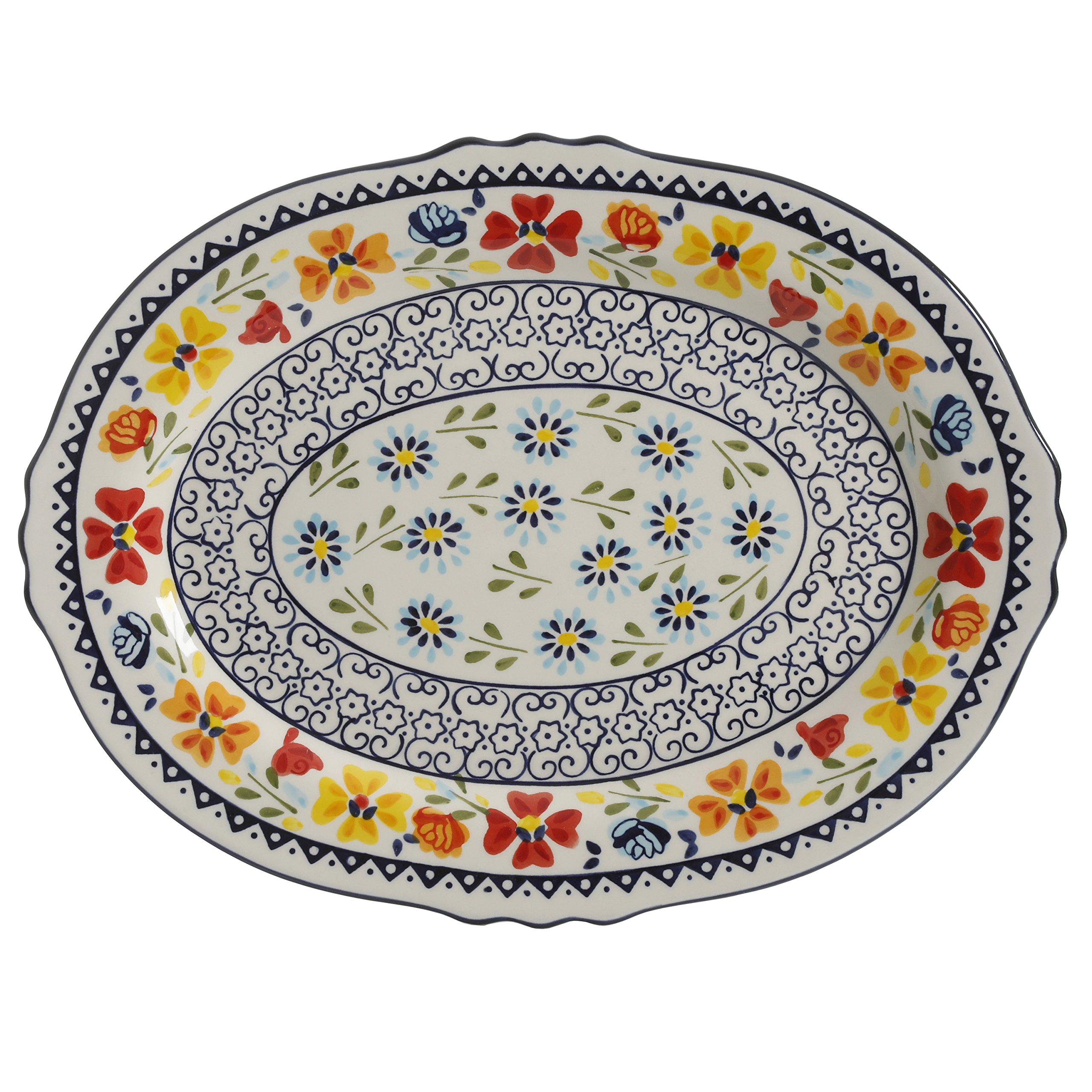 Gibson Elite 98760.01R Luxembourg Handpainted 14'' Serving Platter, Blue and Cream w/Floral Designs