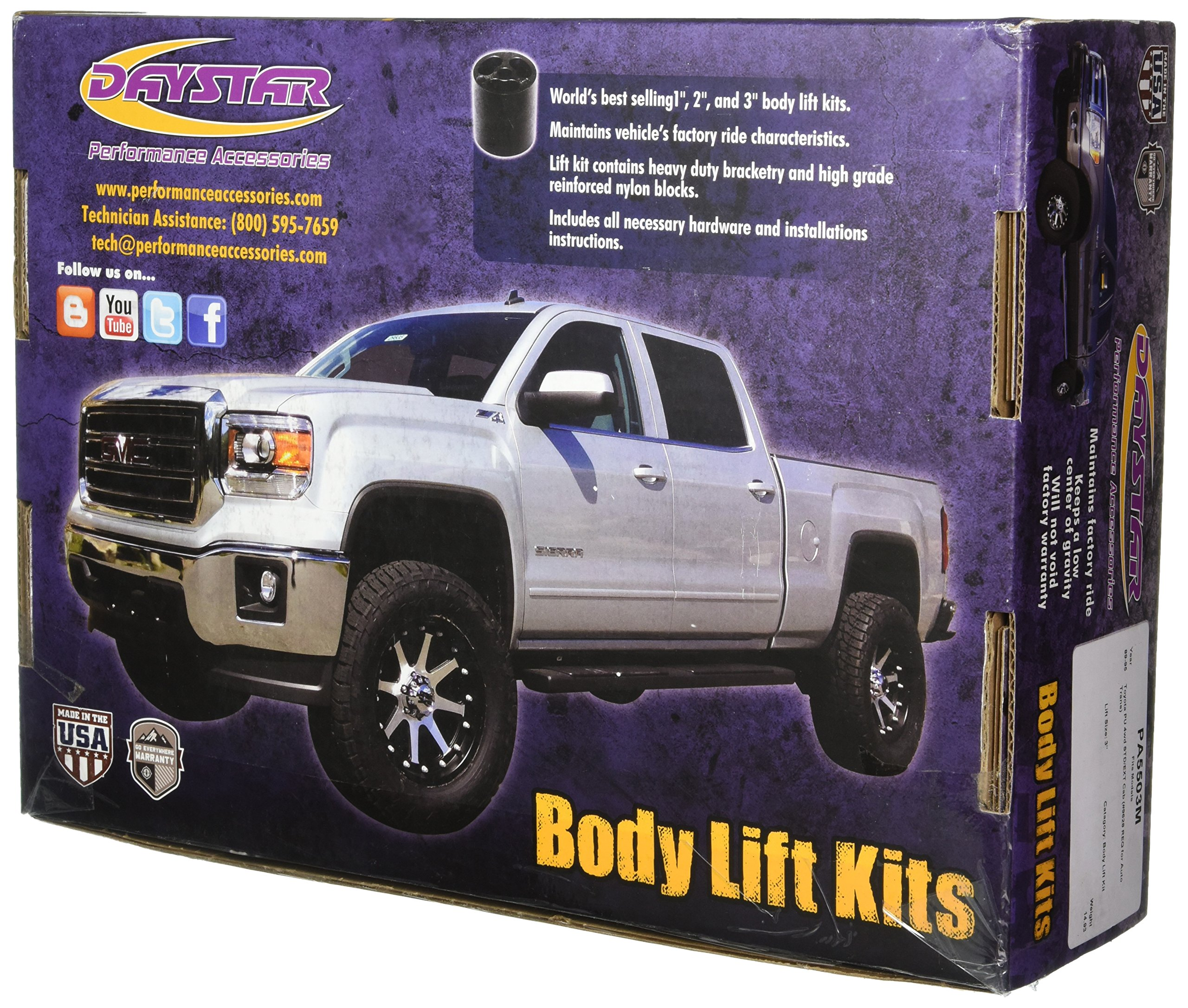 Performance Accessories, Toyota Pickup 4WD Std/Ext Cab (#9628 Req For Auto Trans) 3'' Body Lift Kit, fits 1989 to 1995, PA5503M, Made in America by Performance Accessories (Image #2)