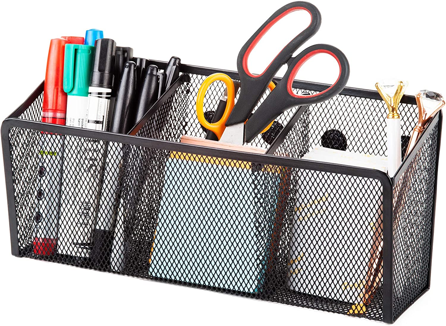 Locker Accessories 3 Magnetic Pencil Holder Magnetic Storage Basket with 3 Generous Compartments Organizer and Semi-Circular Magnetic Mesh Pen Cups for Whiteboard
