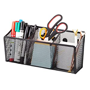Magnetic Pencil Holder Organizer. Perfect for Locker, Refrigerator, Whiteboard, Office, Fridge. Metal Mesh Pen Cup for Accessories, Marker, Eraser, Chalk, Supplies. Strong Magnet Storage Bin Basket