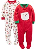 Simple Joys by Carter's 2-Pack Holiday Loose Fit Flame Resistant Fleece Footed Pajamas Unisex bebé, Pack de 2