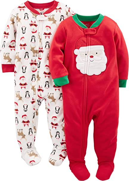 Simple Joys by Carters 2-Pack Holiday Loose Fit Flame Resistant Fleece Footed Pajamas Unisex-Bimbi 0-24 Pacco da 2