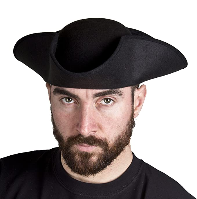 ADULTS BLACK TRICORN HAT PIRATE HIGHWAYMAN TOWN CRYER DICK TURPIN FANCY  DRESS PERFECT FOR ANY PARTY - 1X TRICORN HAT  Amazon.co.uk  Toys   Games f8fd19fd4a3f