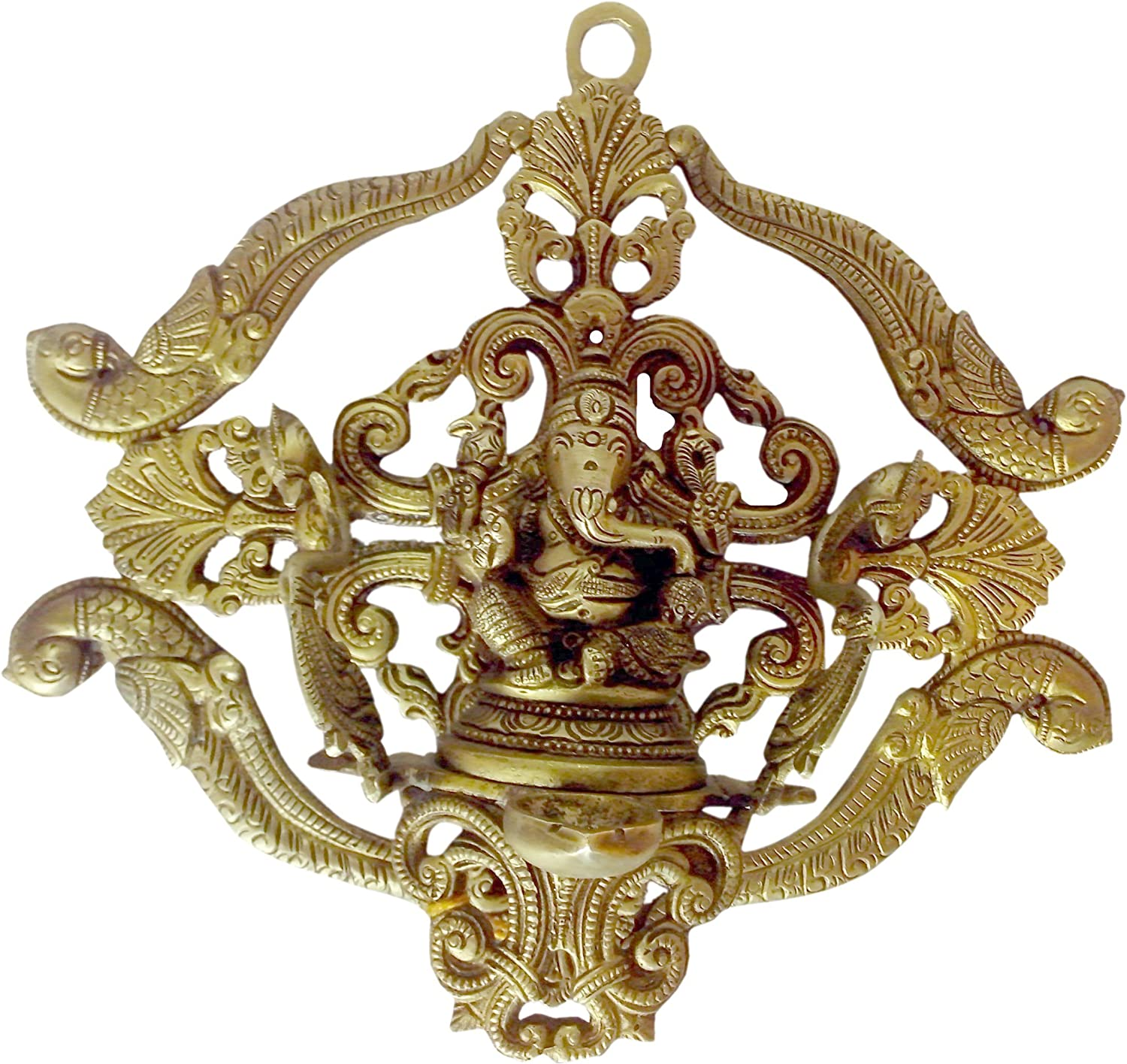 BHARAT HAAT Brass Metal Ganesh Diya with Back Jali Fine Finish Wall Hanging Work India BH00415