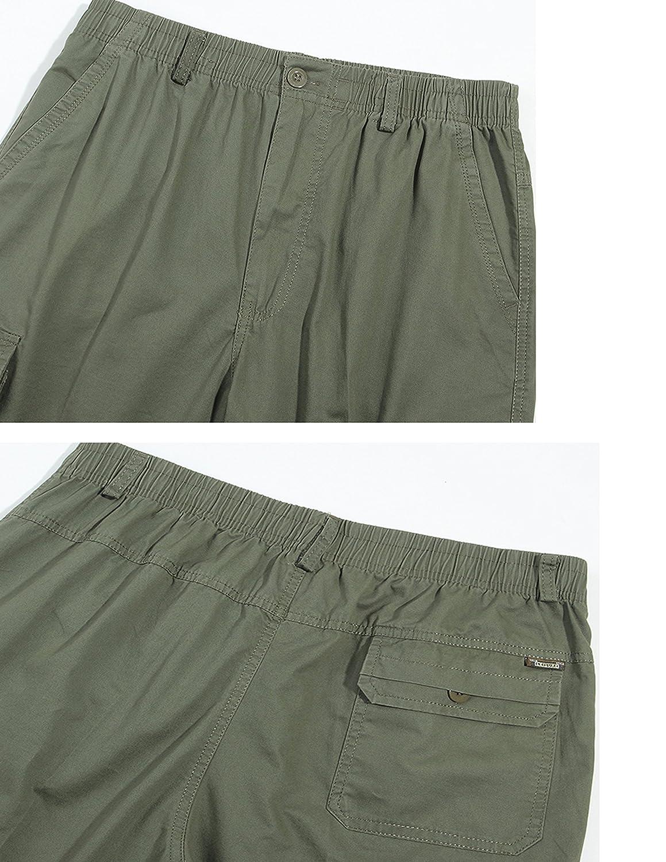 ZANLICE Mens Loose Fit Capri Pants Classic Twill Cotton Cargo Shorts
