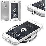 Urcover® Funda de Carga Inalámbrica Apple iPhone 6 Plus / 6s Plus | Receptor Qi Integrado | Plata | Backcase Cargador Carga Rapida Bumper Case Cover en TPU