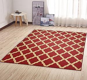 Ottomanson OTH2320-3X5 Trellis Rug, 3 Feet 3 Inch x 5 Feet, Red