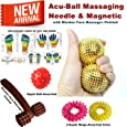 Super India Store Acu-Ball Massaging Needle ! Pair For Palm With 2 Sujok Rings & Wooden Face Massager - Pointed