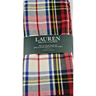 "Ralph Lauren Gretchen Tartan Plaid Napkins Ivory 20"" x 20"" 4 Pk."