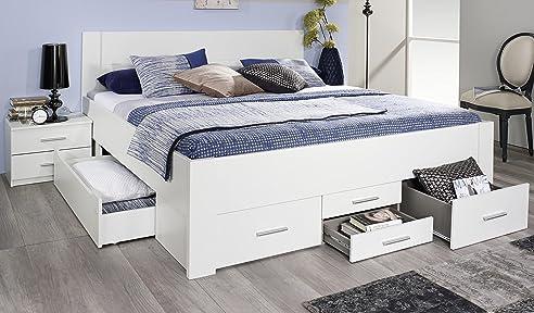 Bettgestell 180x200 mit schubladen  Rauch Bett mit 6 Schubkästen alpinweiß 180 x 200 cm Schubladenbett ...