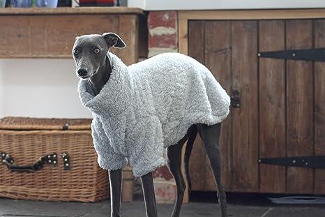 The Trendy Whippet Pijama de Forro Polar Suave Gris con diseño de Galgo Italiano, Azabache