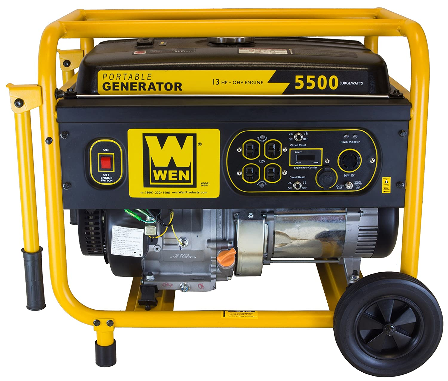 Wen 56551 5000 Running Watts 5500 Starting Gas Centurion Watt Generator Wiring Diagram Powered Portable Garden Outdoor